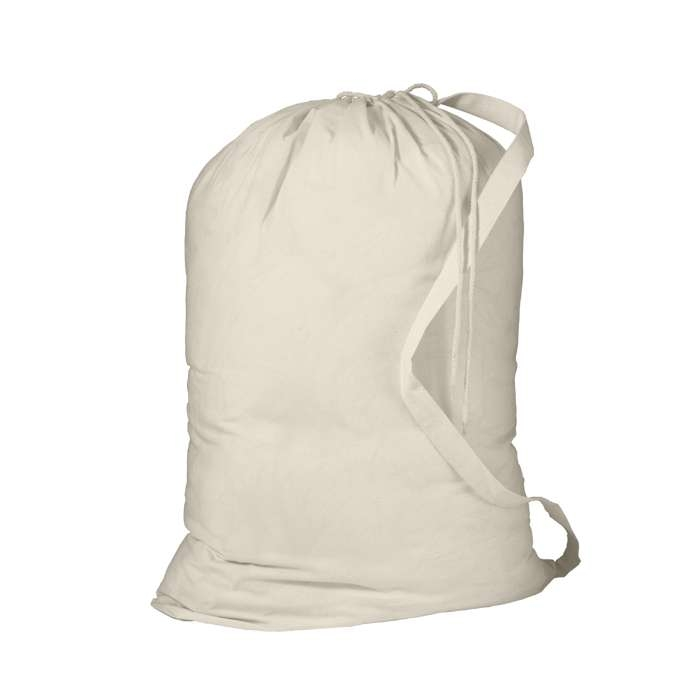 White Poly/Cotton Laundry Bag with draw cord, cord lock closure and  shoulder strap