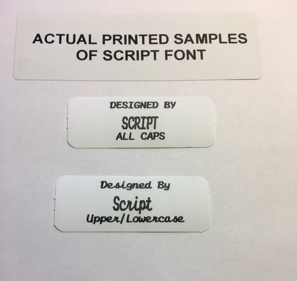 Three Line Iron-on Labels w/Large Middle Font